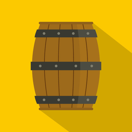 Wooden barrel icon. Flat illustration of wooden barrel icon for web
