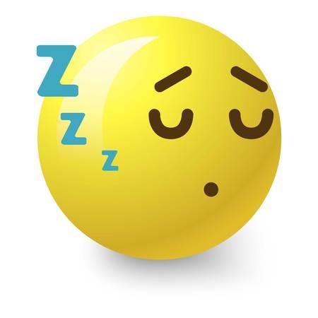 Sleepy smiley icon. Cartoon illustration of sleepy smiley icon for web