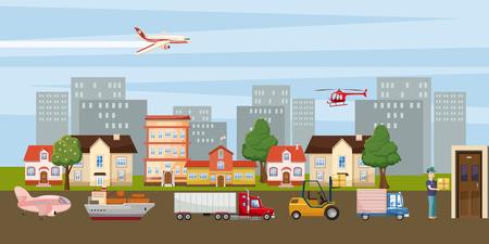 Concepto de ciudad de banner horizontal logística. Ilustración de dibujos animados de banner de ciudad horizontal logística para web Foto de archivo