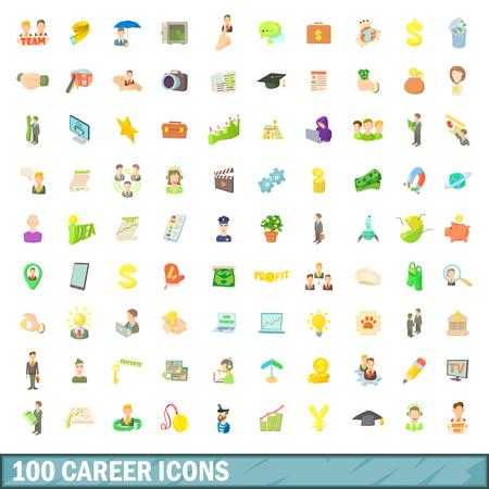 100 career icons set, cartoon style 版權商用圖片