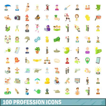 100 profession icons set, cartoon style 版權商用圖片