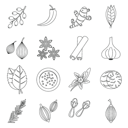 Spice icons set, outline style