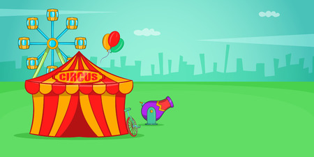 Circus horizontal banner, cartoon style Stock Photo