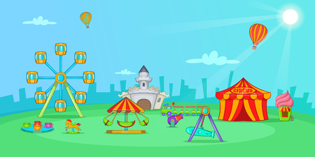Circus horizontal banner landscape, cartoon style Stock Photo