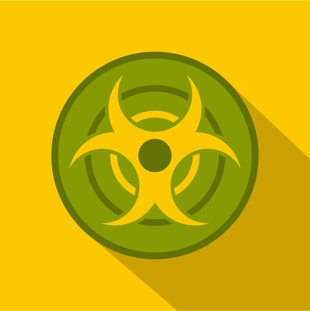 Biohazard symbol icon, flat style