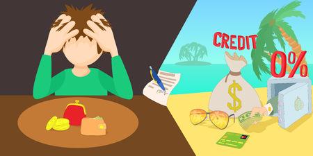 Credit problem horizontal banner, cartoon style