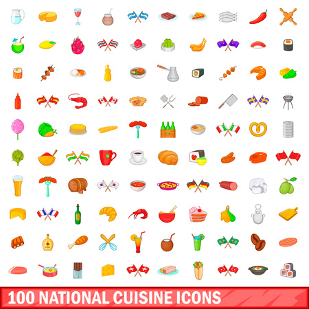 100 national cuisine icons set in cartoon style for any design illustration