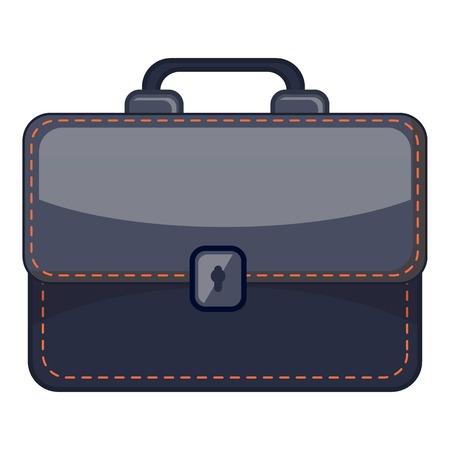 Black briefcase icon. Cartoon illustration of black briefcase icon for web Stock Photo