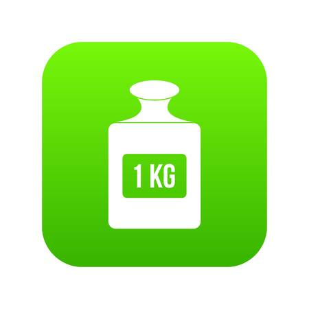 One kilogram weight icon digital green for any design isolated on white vector illustration Illustration