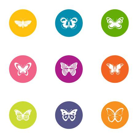 Flap of butterfly icons set. Flat set of 9 flap of butterfly vector icons for web isolated on white background