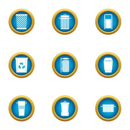 Unnecessary trash icons set. Flat set of 9 unnecessary trash vector icons for web isolated on white background
