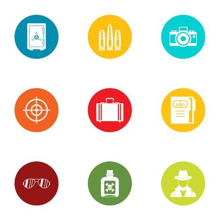 Photo hunting icons set. Flat set of 9 photo hunting vector icons for web isolated on white background Illustration