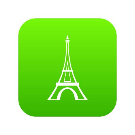 Eiffel tower icon digital green for any design isolated on white vector illustration