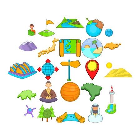 Sides of the world icons set. Cartoon set of 25 sides of the world vector icons for web isolated on white background