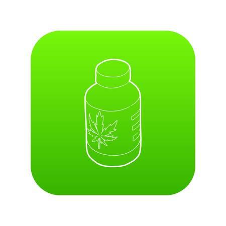 Medical marijua bottle icon green vector isolated on white background Ilustrace