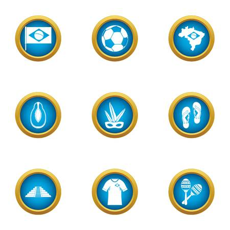 Football city icons set. Flat set of 9 football city vector icons for web isolated on white background