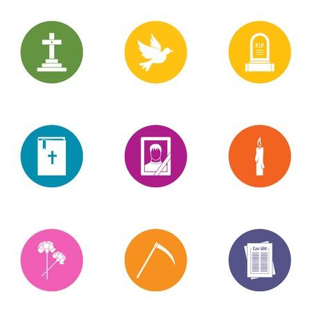 Mors icons set, flat style Vetores