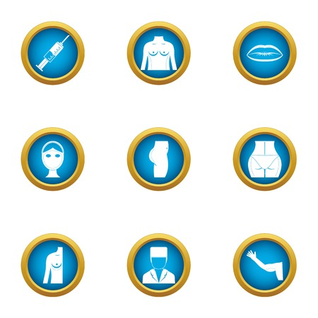Back of body icons set. Flat set of 9 back of body vector icons for web isolated on white background Vector Illustratie