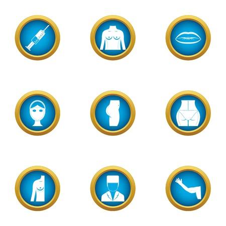 Back of body icons set. Flat set of 9 back of body vector icons for web isolated on white background Illustration