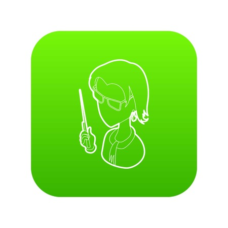 Museum guide icon green vector