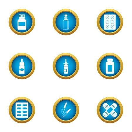 Medical drug icons set. Flat set of 9 medical drug vector icons for web isolated on white background