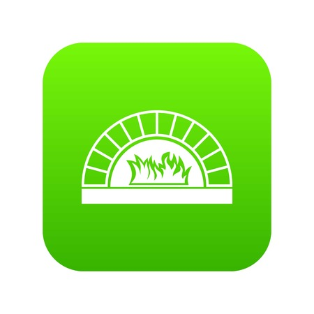 Pizza oven with fire icon digital green for any design isolated on white vector illustration