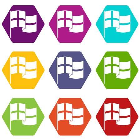 Holland vlag pictogrammen instellen 9 vector