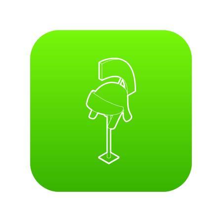 Knight helmet icon green vector