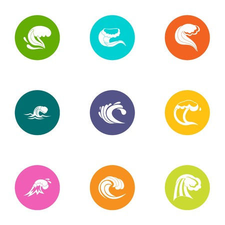 Rolling wave icons set. Flat set of 9 rolling wave vector icons for web isolated on white background
