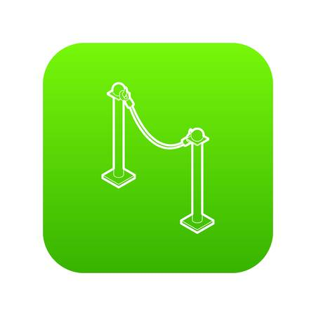 Barrier rope icon green vector Illustration