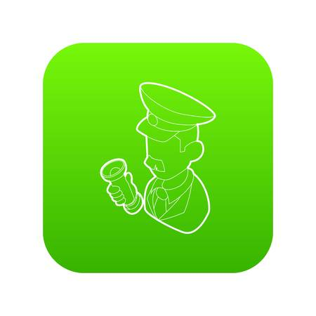 Museum security guard icon green vector