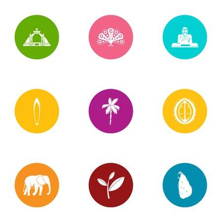 Buddha icons set. Flat set of 9 buddha vector icons for web isolated on white background Çizim