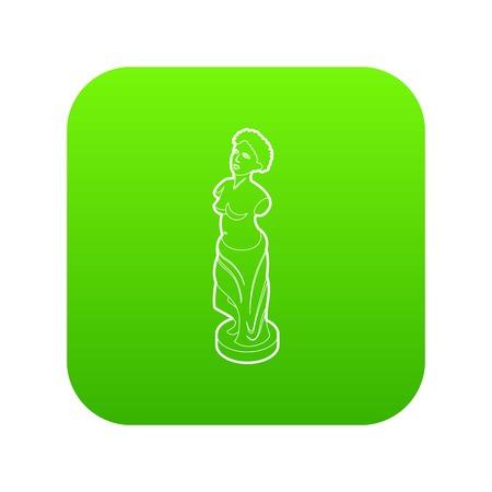 Statue icon green vector