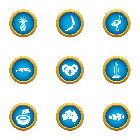 Green continent icons set. Flat set of 9 green continent vector icons for web isolated on white background