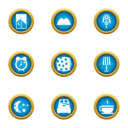 Nighttime icons set. Flat set of 9 nighttime vector icons for web isolated on white background  イラスト・ベクター素材