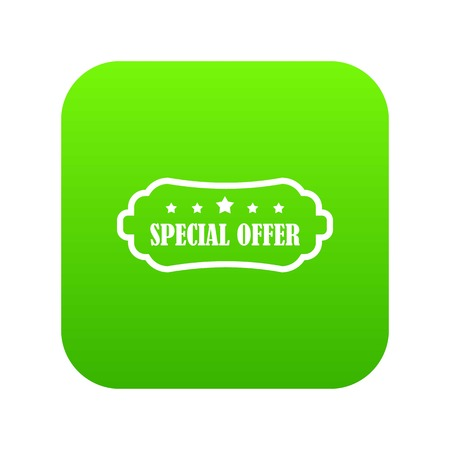 Special offer label icon digital green for any design isolated on white vector illustration