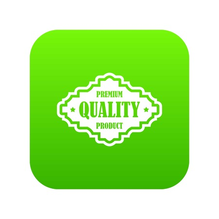 Premium quality product label icon digital green for any design isolated on white vector illustration Stock Illustratie