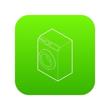 Washing machine icon green vector isolated on white background Illustration