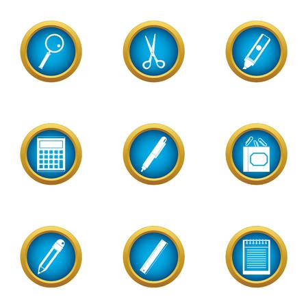 Office plankton icons set. Flat set of 9 office plankton vector icons for web isolated on white background