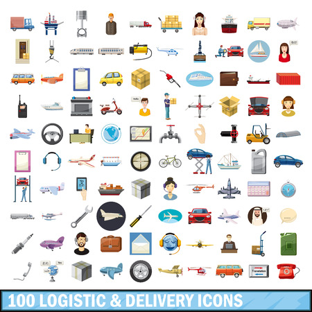 100 logistic and delivery icons set, cartoon style