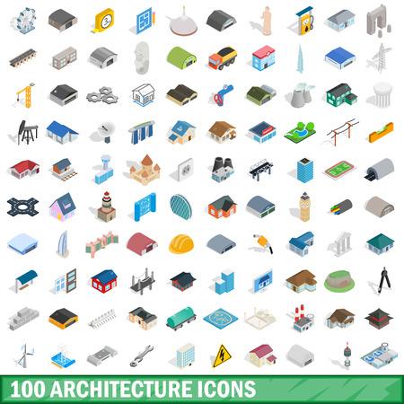 100 architecture icons set, isometric 3d style Archivio Fotografico - 109287538