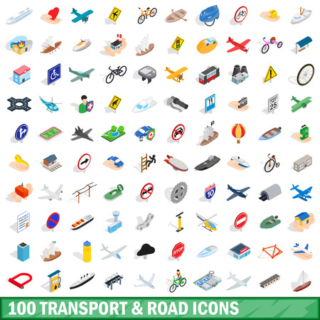 100 transport and road icons set, isometric style Imagens