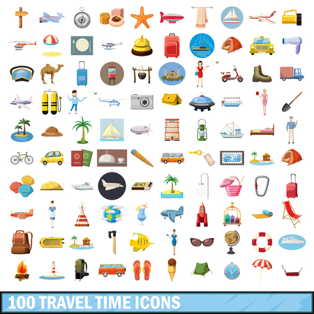 100 travel time icons set, cartoon style