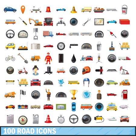 100 road icons set, cartoon style