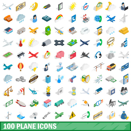 100 plane icons set in isometric 3d style for any design illustration