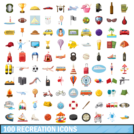 100 recreation icons set in cartoon style for any design illustration Stockfoto