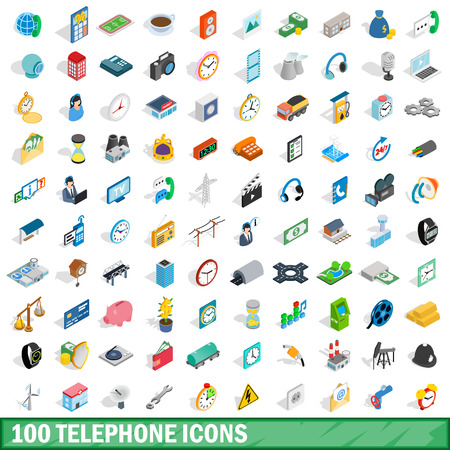 100 telephone icons set in isometric 3d style for any design illustration Archivio Fotografico