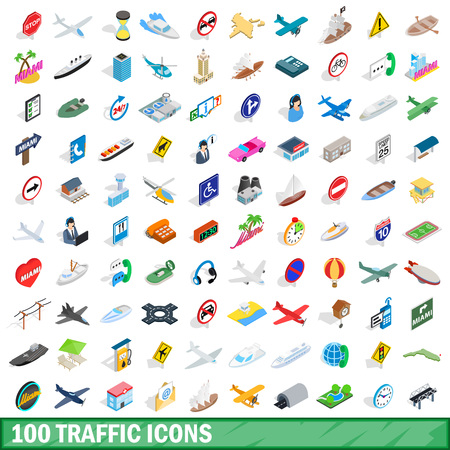 100 traffic icons set in isometric 3d style for any design illustration
