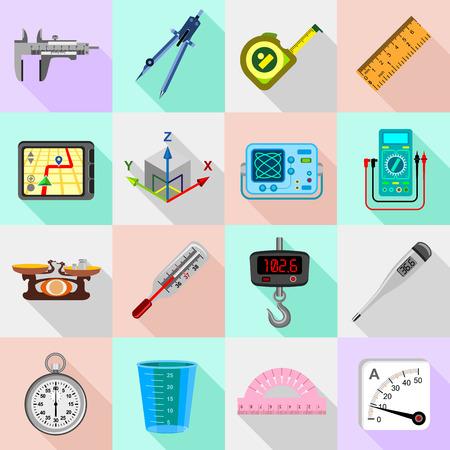 Measure precision icons set. Flat illustration of 16 measure precision icons set icons for web Imagens