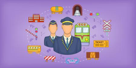 Railway stuff horizontal banner concept. Cartoon illustration of Railway stuff horizontal banner for web